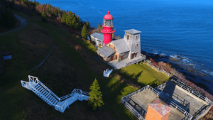 Fame Point lighthouse view from top in Gaspesie